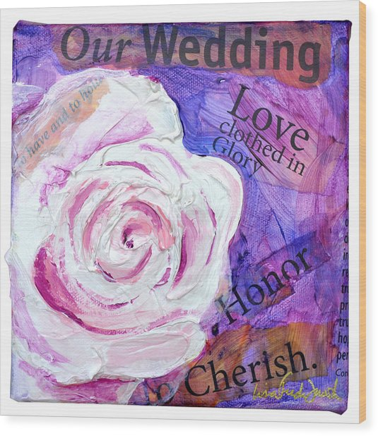 Wedding Rose Wood Print