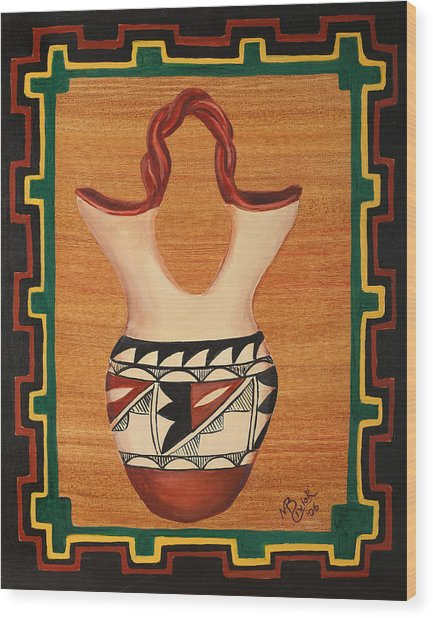 Wedding Vase Wood Print by Mary Anne Civiok