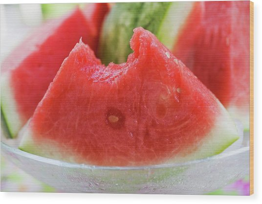 Wedge Of Watermelon, A Bite Taken, In A Glass Bowl Wood Print