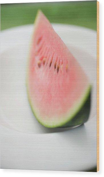Wedge Of Watermelon On Plate Wood Print