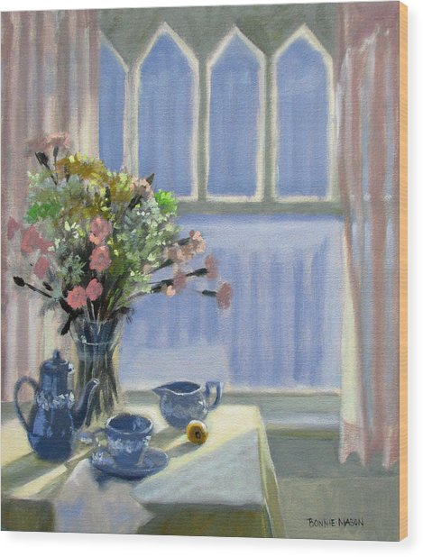 Wedgewood Blues - Flowers By The Window Wood Print