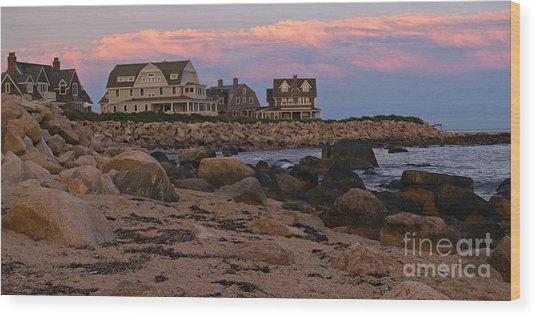 Weekapaug Ri Sunset Panorama Wood Print