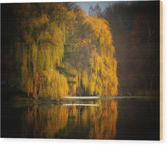 Weeping Willow Pier Wood Print