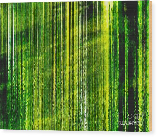 Weeping Willow Tree Ribbons Wood Print