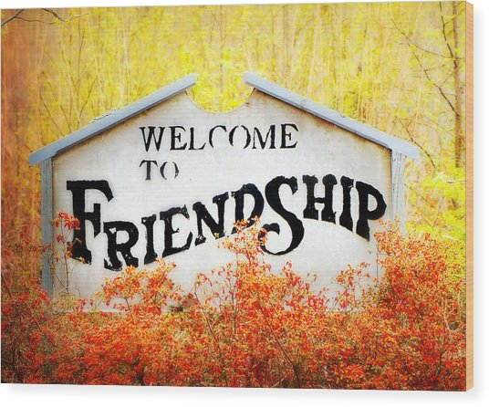 Welcome To Friendship Wood Print