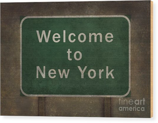 Welcome To New York Highway Road Side Sign Wood Print