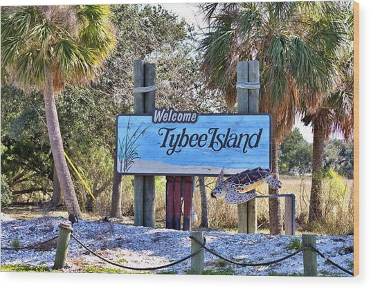 Welcome To Tybee Wood Print