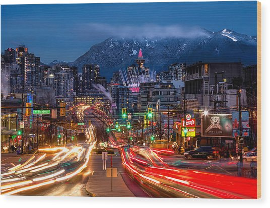 West Broadway And Cambie Wood Print