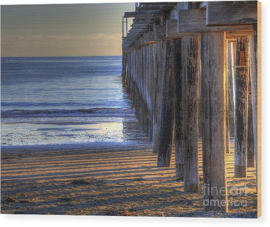 West Coast Cayucos Pier Wood Print