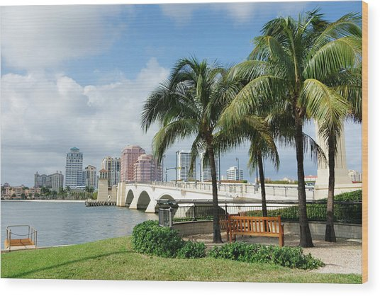 West Palm Beach Cityscape Viewed Across Intracoastal Waterway Wood Print by NoDerog