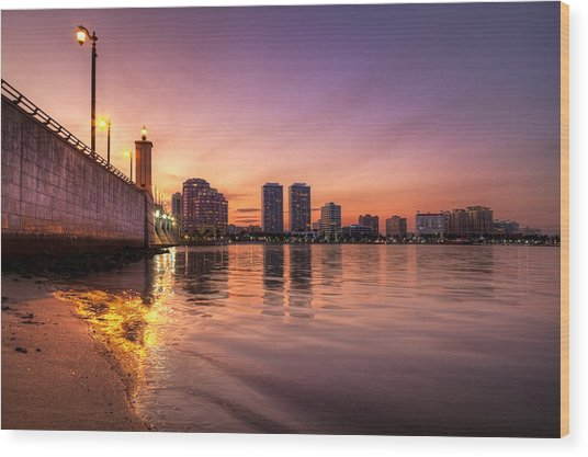 West Palm Beach Skyline At Dusk Wood Print