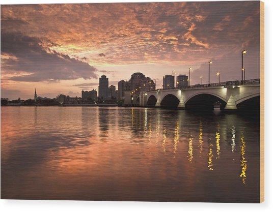 West Palm Beach Skyline At Sunset Wood Print