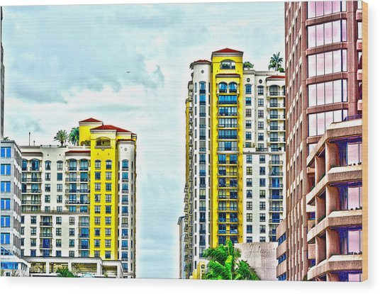 West Palm Skyline Wood Print