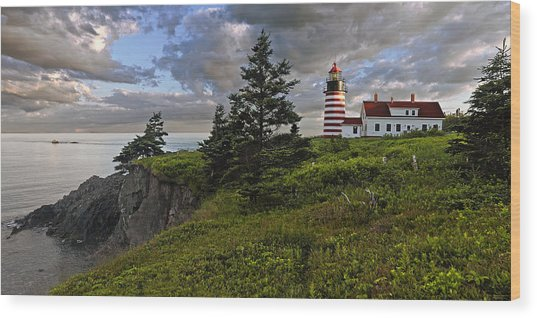 West Quoddy Head Lighthouse Panorama Wood Print