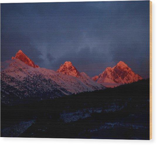 West Side Teton Sunset Wood Print