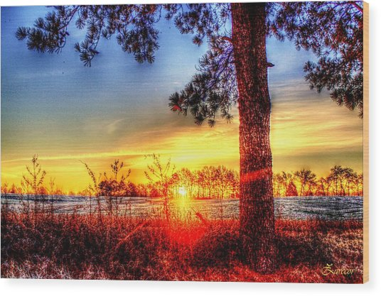 West Tennessee Sunrise Wood Print