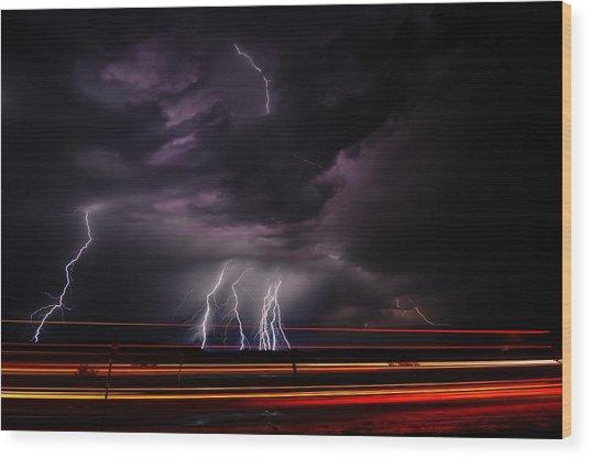 West Texas Lightning Storm Wood Print