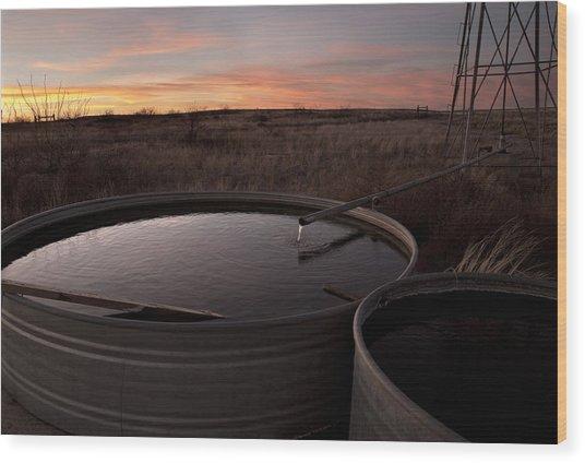 West Texas Plains Sunset Wood Print