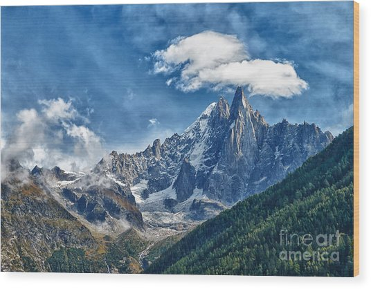 Western Alps In Chamonix Wood Print