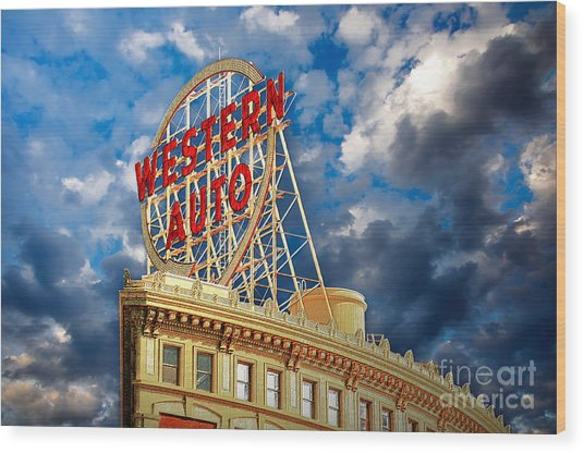 Western Auto Sign Downtown Kansas City Wood Print