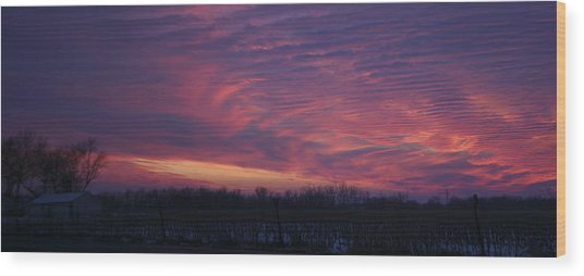 Western Evening Wide Open Wood Print