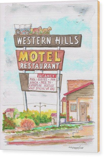 Western Hills Motel In Route 66 Flagstaff - Arizona Wood Print
