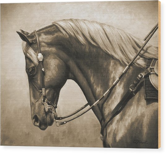 Western Horse Painting In Sepia Wood Print