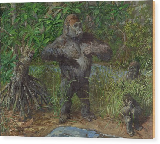 Western Lowland Gorilla Wood Print by ACE Coinage painting by Michael Rothman