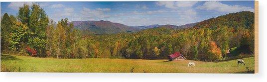 Western North Carolina Horses And Mountains Panorama Wood Print