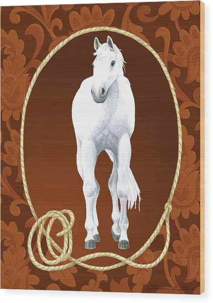 Western Roundup Standing Horse Wood Print