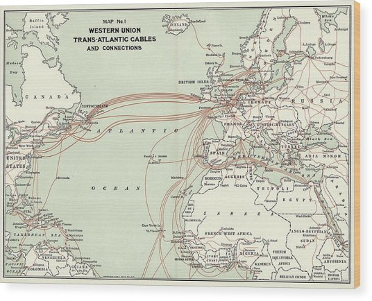 Western Union Transatlantic Cables Wood Print by Library Of Congress, Geography And Map Division