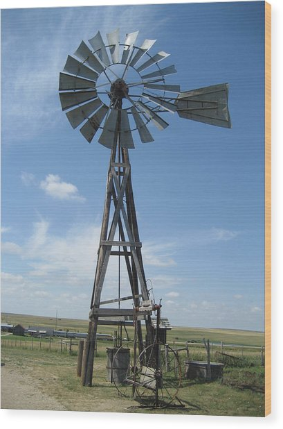 Western Windmill Wood Print