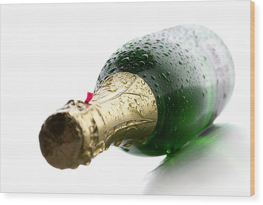 Wet Champagne Bottle Wood Print