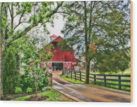 Landscape - Barn - Wet Day On The Farm Wood Print by Barry Jones