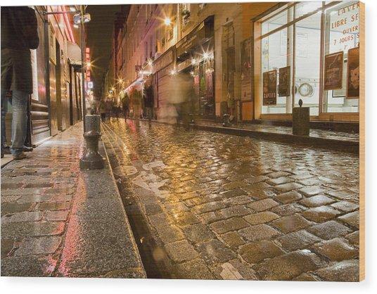 Wet Paris Street Wood Print