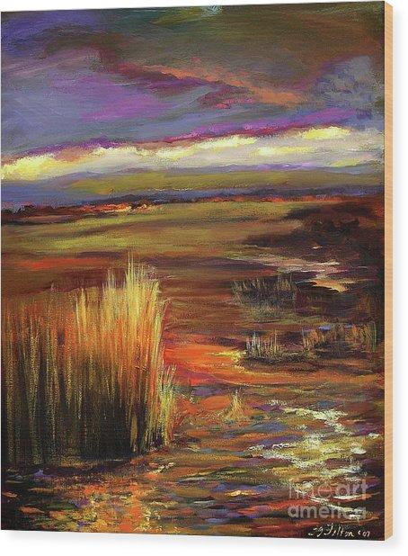 Wetlands Sunset Iv Wood Print