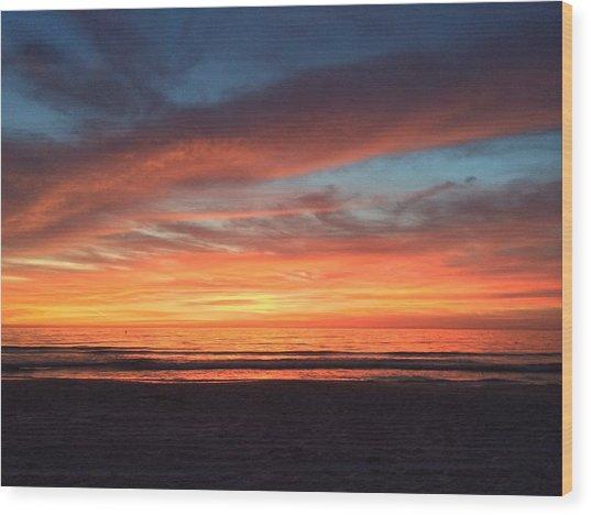 Whale Eye In Sky Sunset St.pete Beach Wood Print
