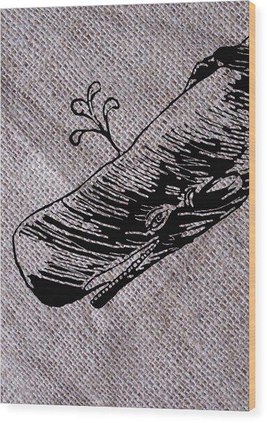 Whale On Burlap Wood Print