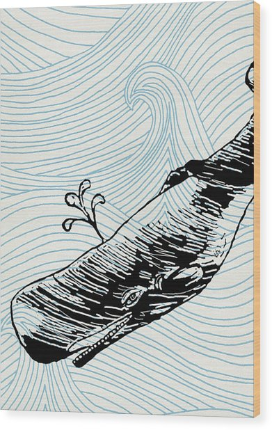 Whale On Wave Paper Wood Print