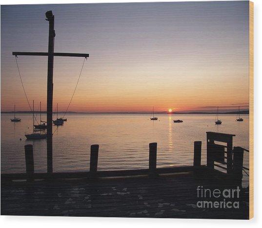 Wharf At Bayside Wood Print