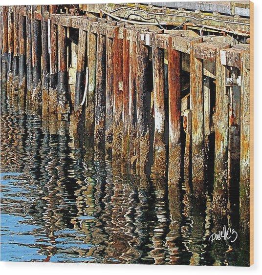 Wharf Reflections Wood Print