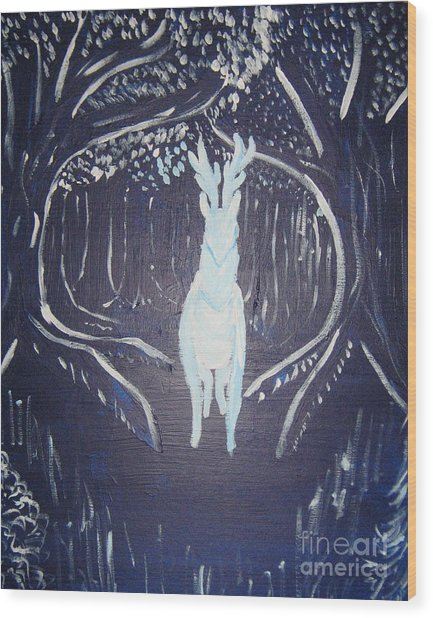 What Walks These Woods Wood Print
