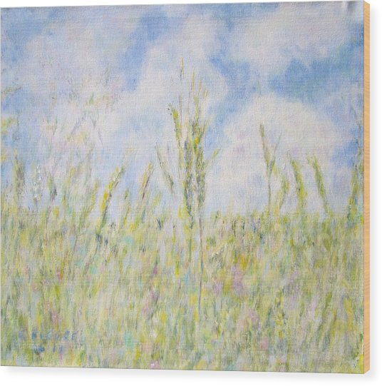 Wheat Field And Wildflowers Wood Print