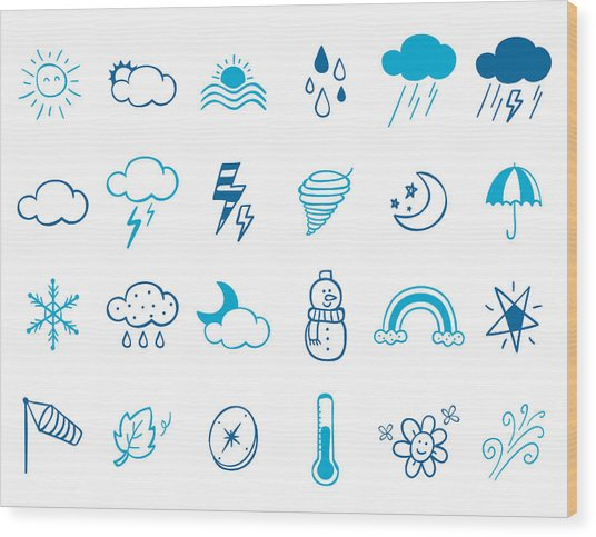 Wheater Icon Set Wood Print by Eastnine Inc.