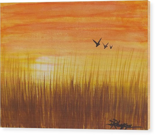 Wheatfield At Sunset Wood Print