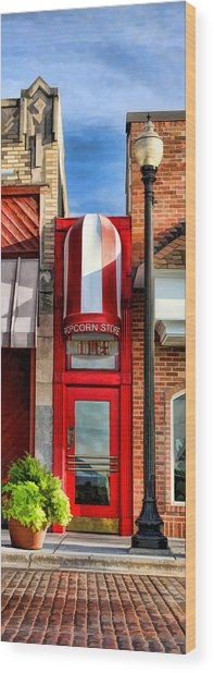 Wheaton Little Popcorn Shop Panorama Wood Print