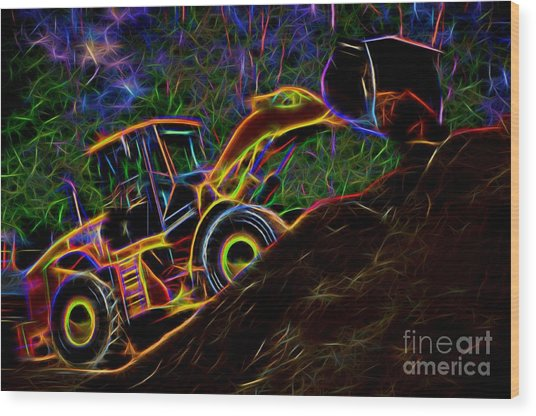 Wheel Loader Moving Dirt - Neon Wood Print
