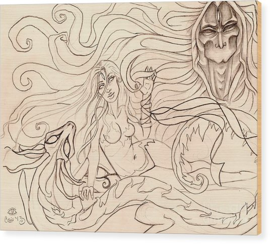 When Demons And Dragons Clash Sketch Wood Print by Coriander  Shea