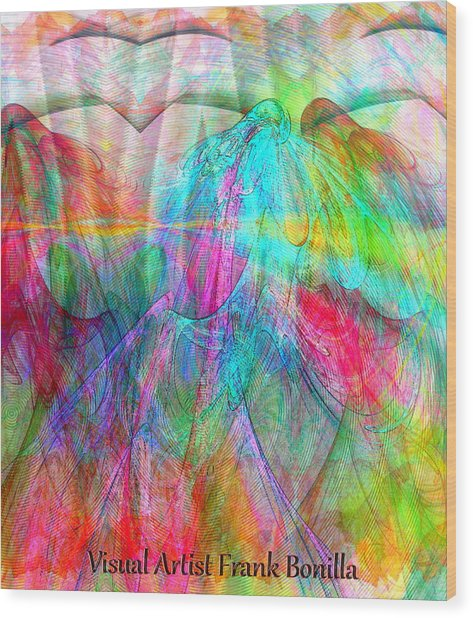 Wood Print featuring the digital art When Doves Cry by Visual Artist Frank Bonilla