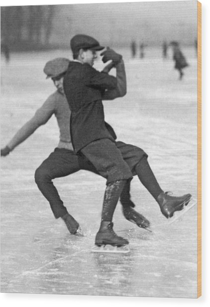 When Ice Skaters Collide Wood Print